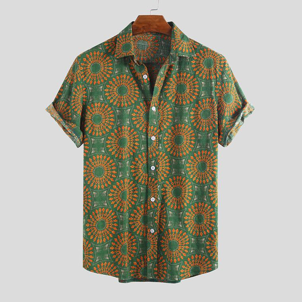 Printed Holiday Casual Short Sleeve Shirt