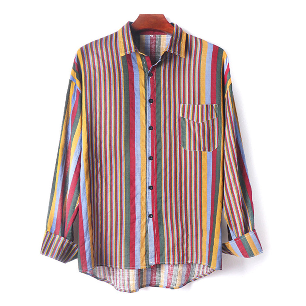 Mens Thin Breathable Cotton Colorful Stripe Holiday Long Sleeve Shirt