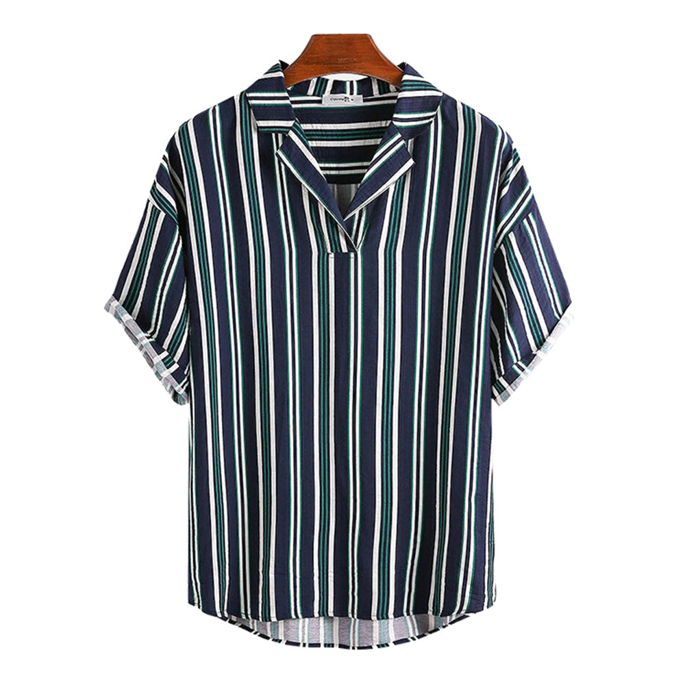 Stripes Print Casual Vacation Style Short Sleeve Shirts