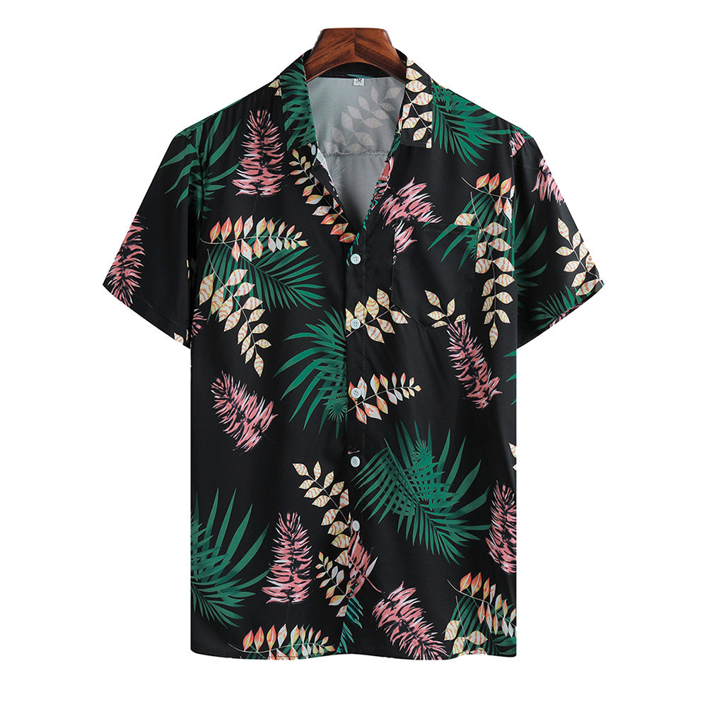 Tropical Printed Chest Pocket Turn Down Collar Short Sleeve Shirts