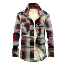 Load image into Gallery viewer, Men's Checkered Fleece Casual Shirt
