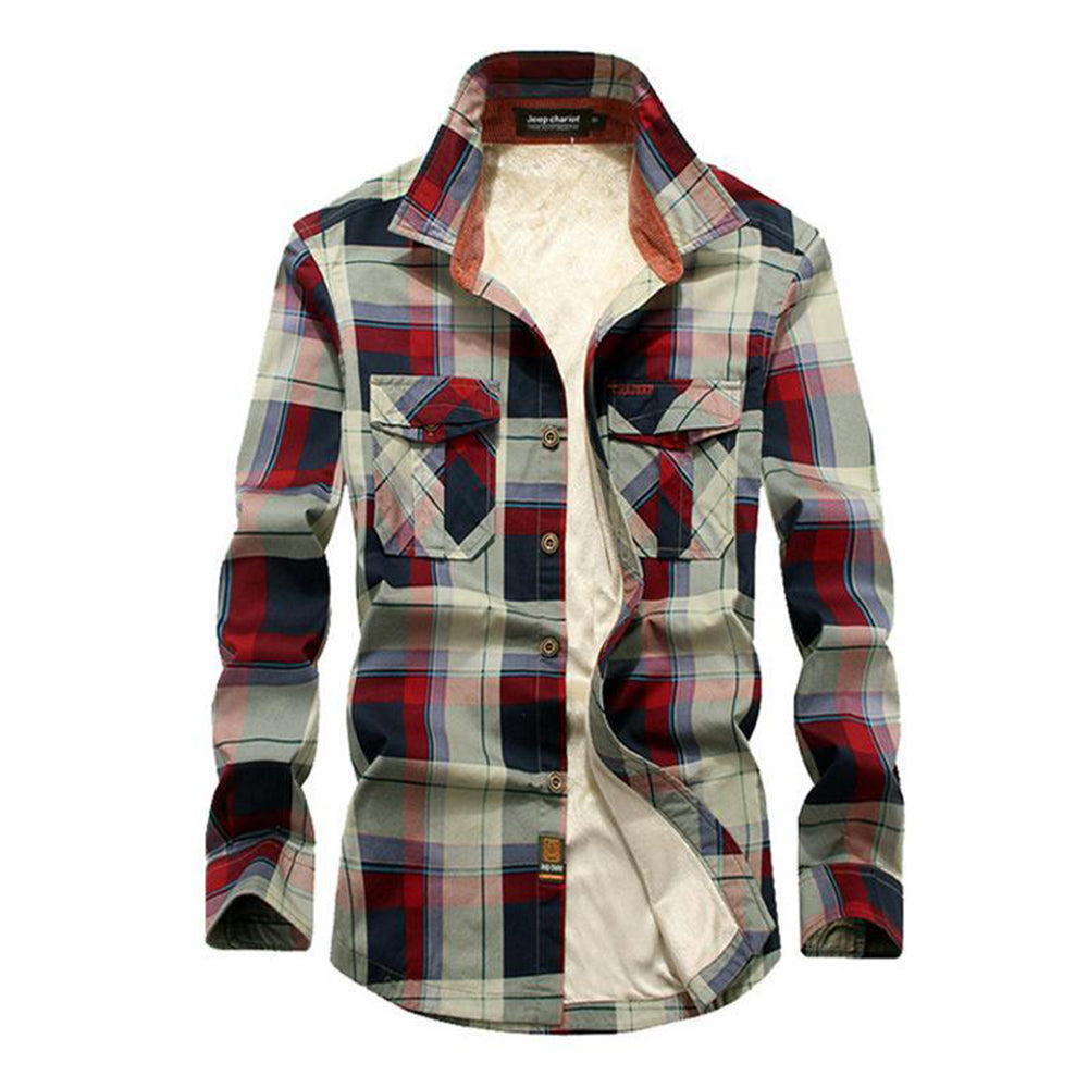 Men's Checkered Fleece Casual Shirt