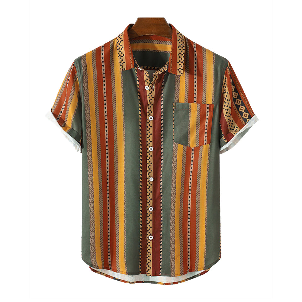 Mens Vintage Striped Geo Print Lapel Holiday Short Sleeve Shirts