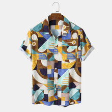 Load image into Gallery viewer, Mens Colorful Geo Print Lapel Short Sleeve Holiday Shirts With Pocket