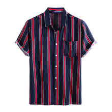 Load image into Gallery viewer, Mens Simple Casual Striped Chest Pocket Short Sleeve Shirts