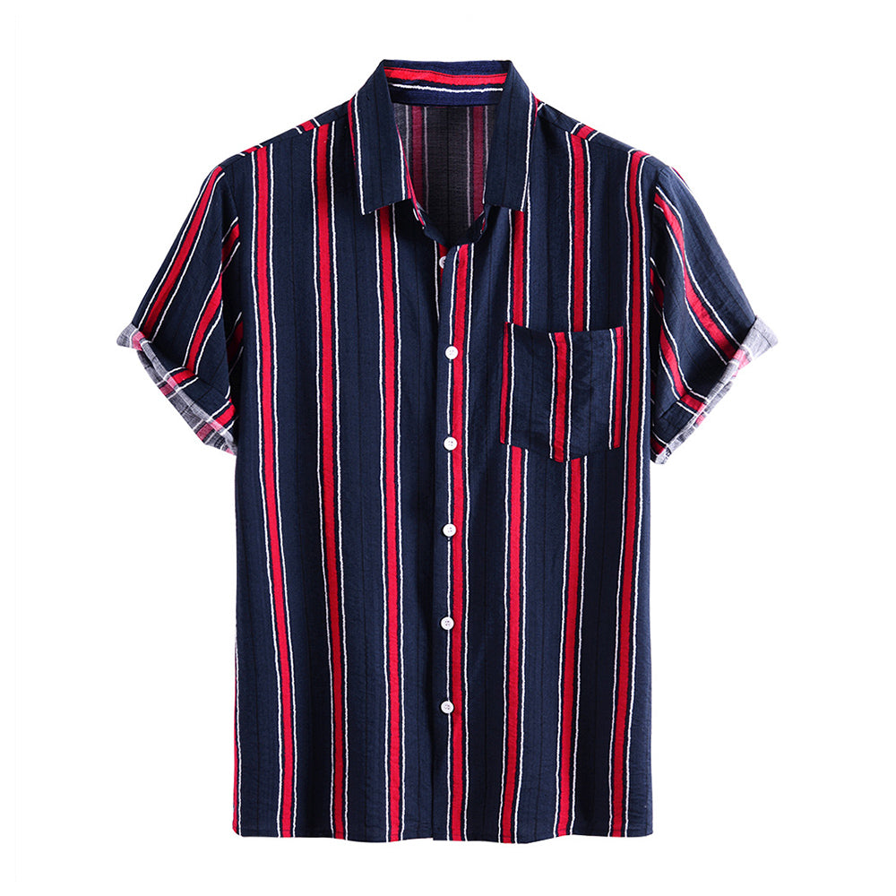 Mens Simple Casual Striped Chest Pocket Short Sleeve Shirts