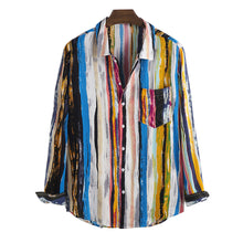 Load image into Gallery viewer, Mens Multi Color Graffiti Chest Pocket Round Hem Long Sleeve Shirts