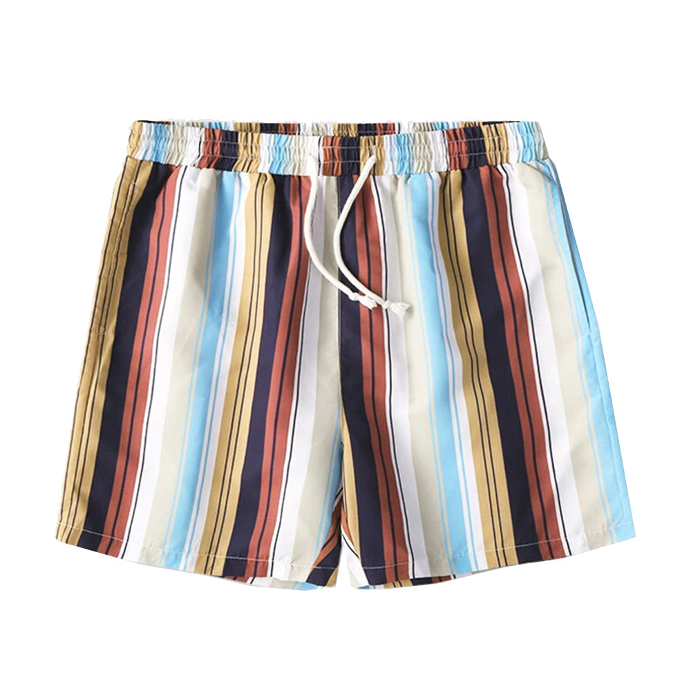 Colorful Striped Print Loose Light Drawstring Shorts