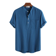 Load image into Gallery viewer, Mens Cotton Linen Casual Hidden Buttons Short Sleeve Shirt