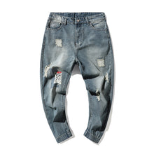 Load image into Gallery viewer, Mens Loose Straight Leg Ninth Denim Pants