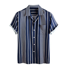 Load image into Gallery viewer, Mens Stripe Printed Casual Short Sleeve Designer Shirts