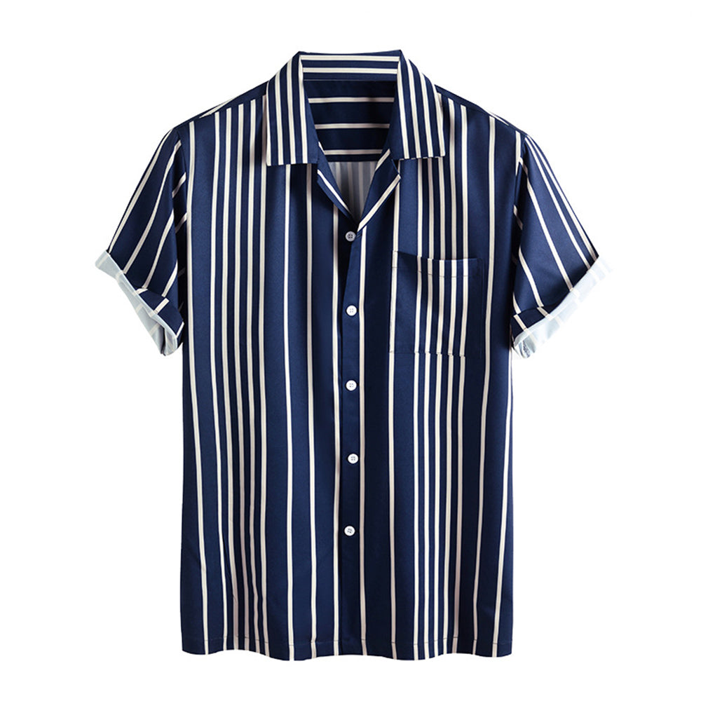 Mens Stripe Printed Casual Short Sleeve Designer Shirts