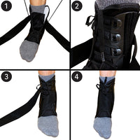 Ankle Brace, Lace Up Adjustable Support – for Running, Basketball, Injury Recovery, Sprain! Ankle Wrap for Men Women