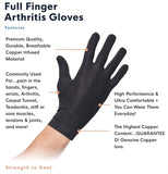 Copper Compression Full Finger Arthritis Gloves. Copper Provides Added Protection. Best Copper Glove for Carpal Tunnel, Typing, Fit for Men & Women