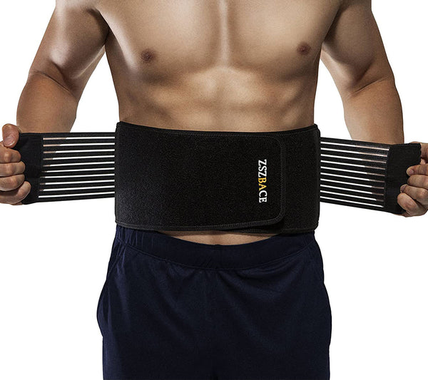 ZszbACE Stabilizing Lumbar Lower Back Brace Support Belt Dual Adjustable Straps Breathable Mesh Panels