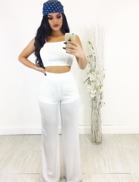 WHITE TWO PIECE PANT SET