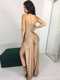 MOCHA SIDE SLIT BUTTON JUMPSUIT