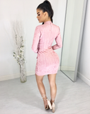 POWDER PINK SUEDE LONG SLEEVE DRESS