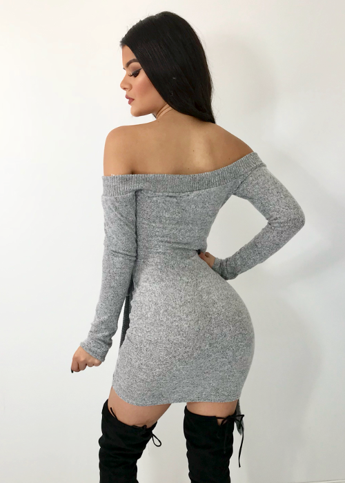 HEATHER GREY OFF THE SHOULDER MINI DRESS
