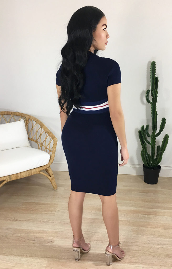NAVY ZIPPER STRIPED MIDI