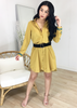 MUSTARD STRIPED BUTTONED DOWN DRESS