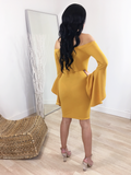 MUSTARD FLARE SLEEVE DRESS