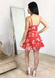 FEATHER PRINT RED SKIRT SET