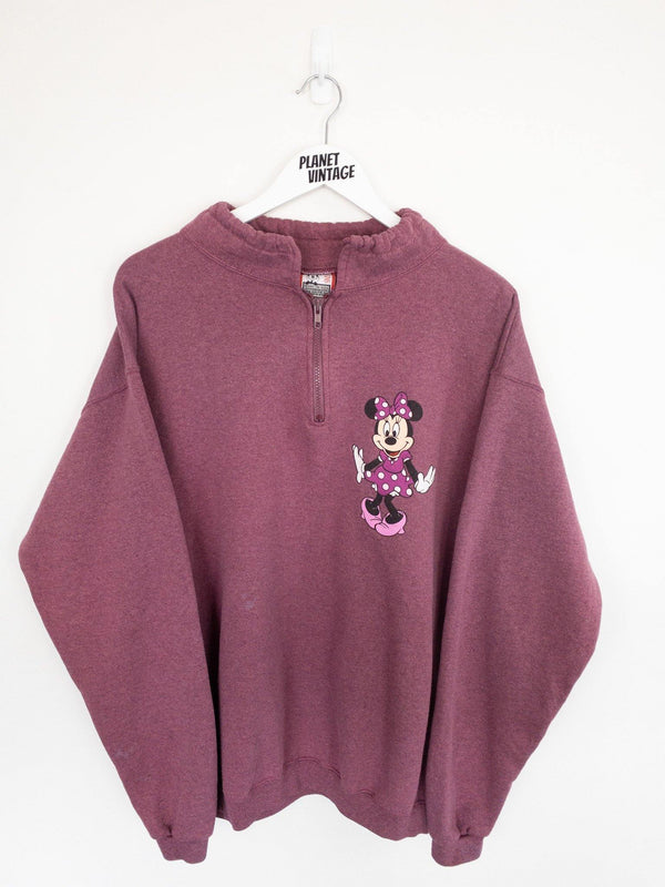Minnie Mouse Quarter Zip Sweatshirt (L) - Planet Vintage Store