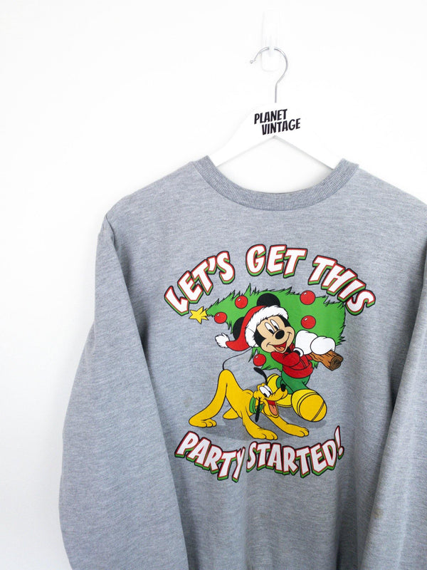 Mickey and Pluto Christmas Sweatshirt (M) - Planet Vintage Store
