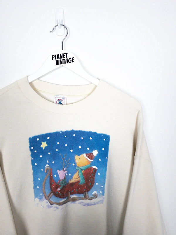 Pooh & Piglet Snowy Night Sweatshirt (XL) - Planet Vintage Store