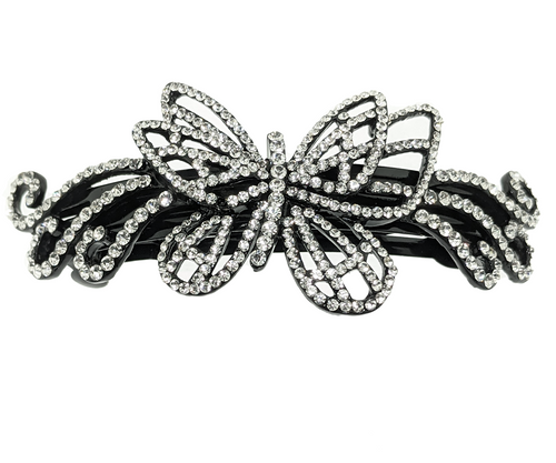 butterfly Rhinestones Barrette, Crystals Barrette, Hair Barrette For Women, Flower Hair Clip, French Hair Barrette