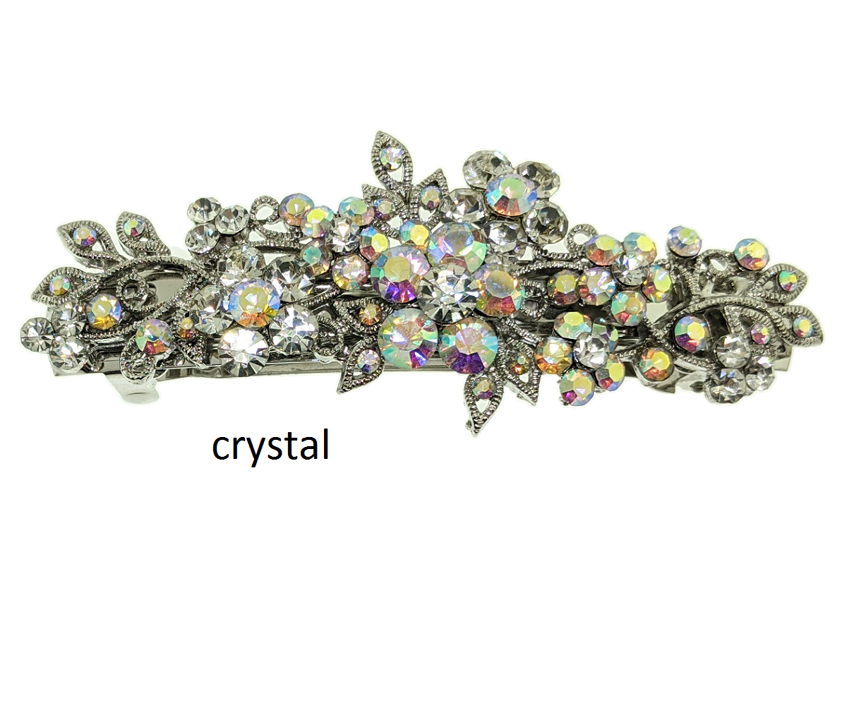 Rhinestones Barrette, Crystals Barrette, Hair Barrette For Women, Flower Hair Clip, French Hair Barrette
