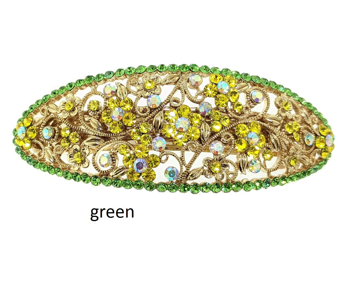 green crystal barrette