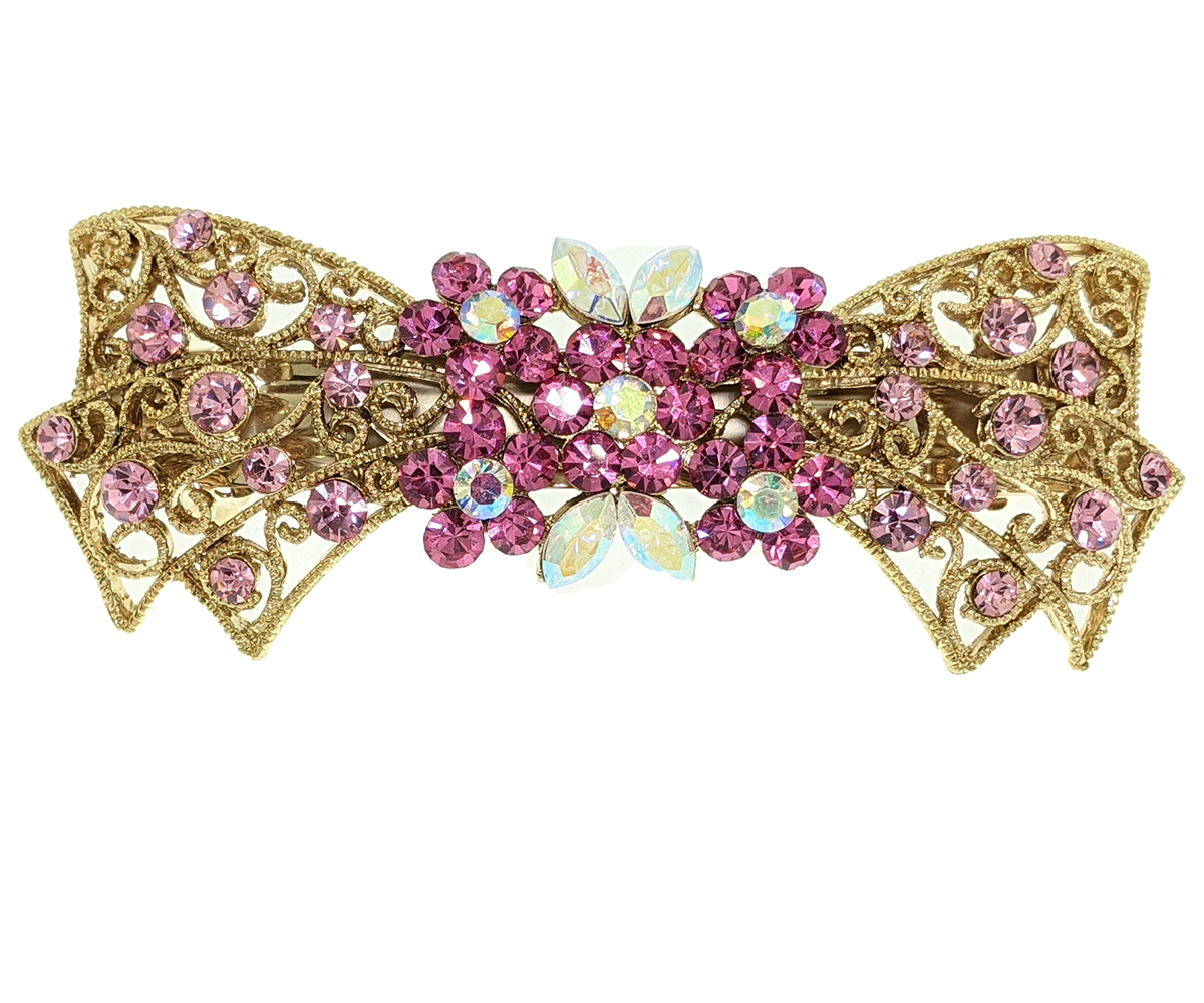 Rhinestones Barrette, Crystals Barrette, Hair Barrette For Women, Flower Hair Clip, French Hair Barrette,