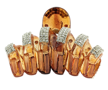 Load image into Gallery viewer, golden acrylic hair claw with crystal