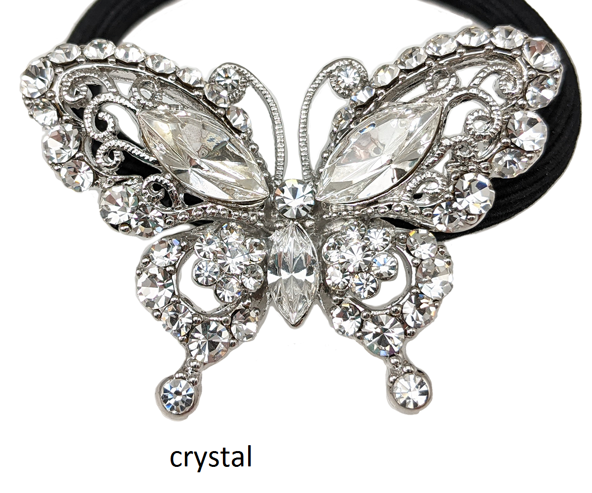 butterfly Crystal Hair Tie, Hair Tie, Hair Accessories, Hair Scrunchies, Crystal Hair Accessory, Thick Hair Pony Tail Holder