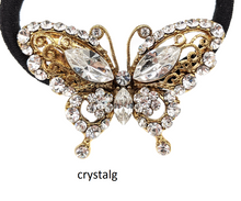 Load image into Gallery viewer, butterfly Crystal Hair Tie, Hair Tie, Hair Accessories, Hair Scrunchies, Crystal Hair Accessory, Thick Hair Pony Tail Holder