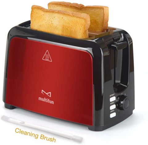 2 Slice Toaster, Multifun Stainless Steel Toaster with Warm Rack, Removable Crumb Tray, 7 Bread Shade Settings, Reheat/Cancel/Defrost Function, Extra Wilde Slot for Bagels, Waffle UL Certified