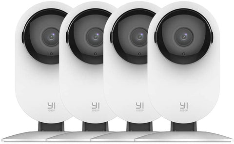 YI 4pc Security Home Camera, 1080p Wi-Fi Smart Wireless Indoor Nanny IP Cam with Night Vision, 2-Way Audio, Motion Detection, Phone App, Pet Cat Dog Cam - Works with Alexa and Google
