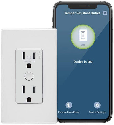 Leviton DW15R-1BW Decora Smart Wi-Fi Tamper Resistant Outlet, No Hub Required, Works with Alexa and Google Assistant, 1-Pack, White