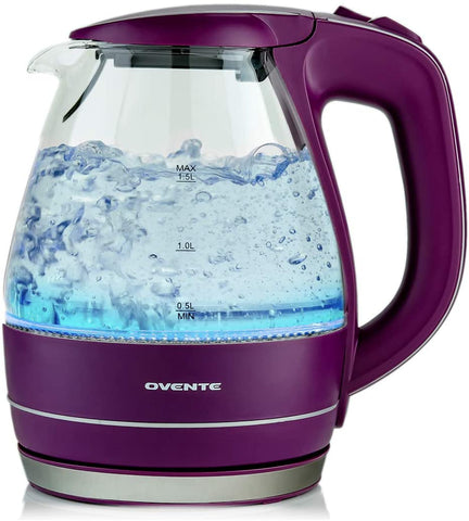 OVENTE Electric Kettle 1.5 Liter Water Boiler & Tea Heater Tempered Borosilicate Glass, BPA-Free, 1100 Watts Fast Heating, Auto Shutoff and Boil Dry Protection