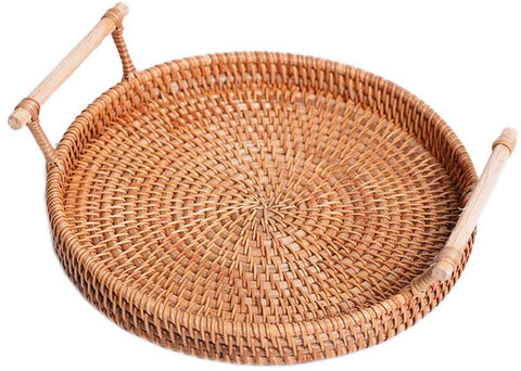 LUCY STORE Autumn Dessert Accommodated Small Round Woven Rattan Fruit Snacks Furniture Parts L, M, S