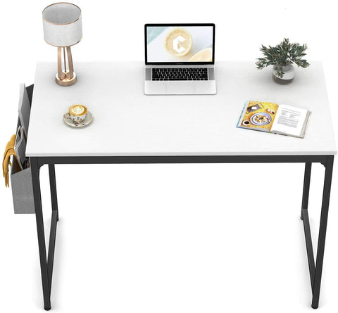 """CubiCubi Computer Desk 40"""" Study Writing Table for Home Office, Modern Simple Style PC Desk, Black Metal Frame, White"""