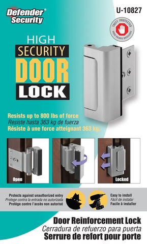 """Defender Security Satin Nickel U 10827 Door Reinforcement Lock – Add Extra, High Security to your Home and Prevent Unauthorized Entry – 3"""" Stop, Aluminum Construction Finish"""