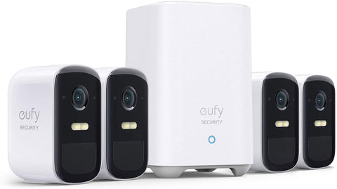 eufy Security, eufyCam 2C Pro 4-Cam Kit, Wireless Home Security System with 2K Resolution, HomeKit Compatibility, 180-Day Battery Life, IP67, Night Vision, and No Monthly Fee.