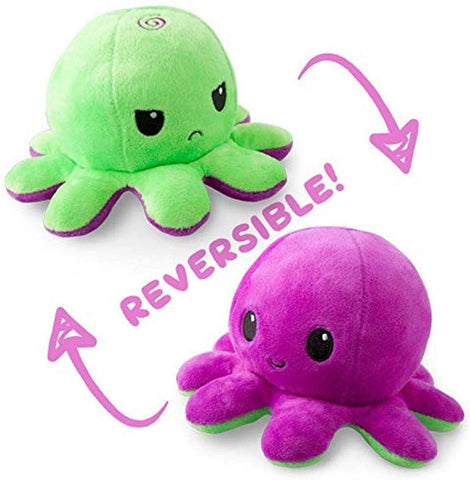 TeeTurtle | The Original Reversible Octopus Plushie | Patented Design | Green and Purple | Show your mood without saying a word!