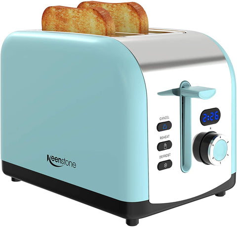 Toaster 2 Slice, Keenstone Stainless Steel Retro Toaster with Timer, Wide Slot, Defrost/Reheat/Cancel Fuction, Removable Crumb Tray