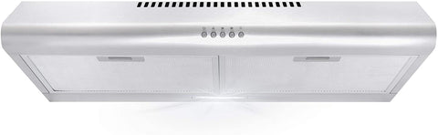 Cosmo 5MU30 30 in. Under Cabinet Range Hood with Ducted / Ductless Convertible Duct, Slim Kitchen Stove Vent with, 3 Speed Exhaust Fan, Reusable Filter and LED Lights in Stainless Steel
