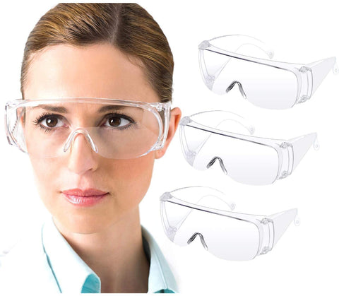 Safety Goggles, Anti-Fog Eye Protection Glasses, Lightweight Dustproof Over-Glasses, Anti-Splash Goggles for Men and Women 3 Pack