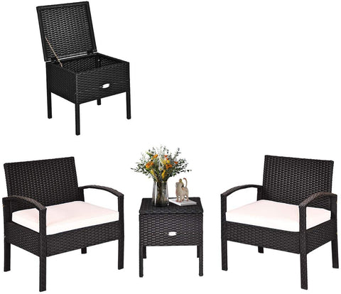 Tangkula 3 Piece Patio Wicker Conversation Set, Outdoor Rattan Furniture with Washable Thick Cushion & Coffee Table w/Storage Space, Patio Furniture Set for Backyard Porch Garden Poolside (White)
